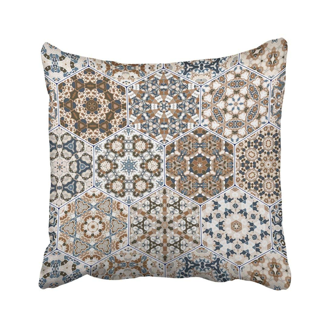 WOPOP Blue Moroccan Eastern Tiles Colorful Of Hexagonal Brown Arabesque Arabic Asian Carpet Pillowcase Cover 18x18 inch