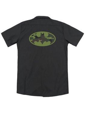 Batman Camo Logo (Back Print) Mens Work Shirt