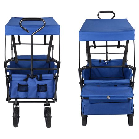 GreenWise Wheelbarrows, Collapsible Wagon Folding Utility Outdoor Garden Cart with Canopy,165lb Capacity (Blue) - image 6 of 6