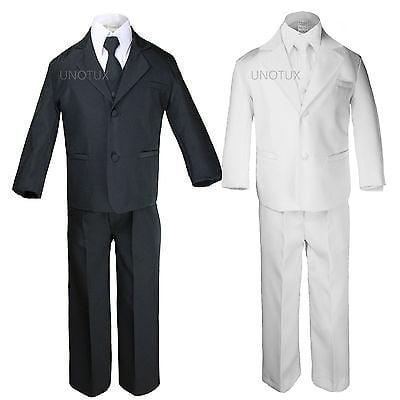 Boy Formal Tuxedo Wedding Easter Party Black Suit sz 5,6,7,8,10,12,14,16,18,20