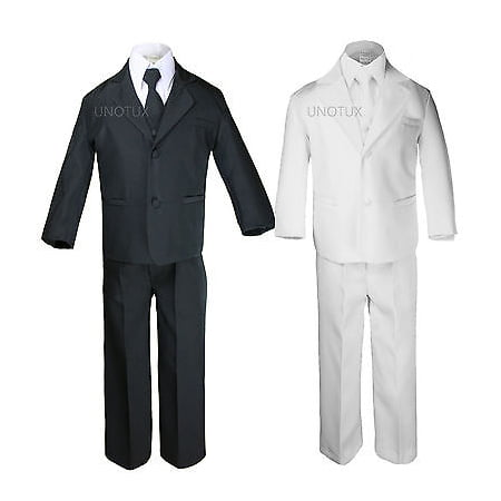 Boy Formal Tuxedo Wedding Easter Party Black Suit sz 5,6,7,8,10,12,14,16,18,20