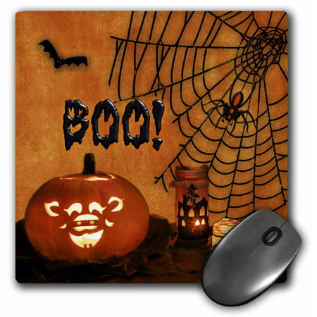 Happy Halloween Book (3dRose Boo. Jack-o-lantern, bats and spiders Happy Halloween., Mouse Pad, 8 by 8)