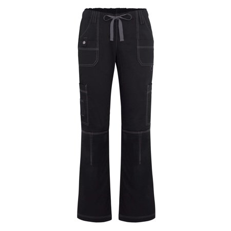Adar Pop Stretch Junior Fit Low Rise Multi Pocket Straight Leg Pants   3100   Black   S