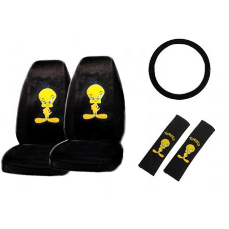 5 piece tweety bird with attitude auto interior gift set a set of 2 universal fit seat covers. Black Bedroom Furniture Sets. Home Design Ideas