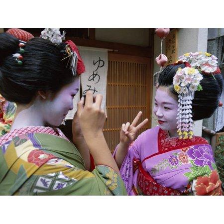 Apprentice Geisha (Maiko), Women Dressed in Traditional Costume, Kimono, Kyoto, Honshu, Japan Print Wall - Costume D'halloween Geisha