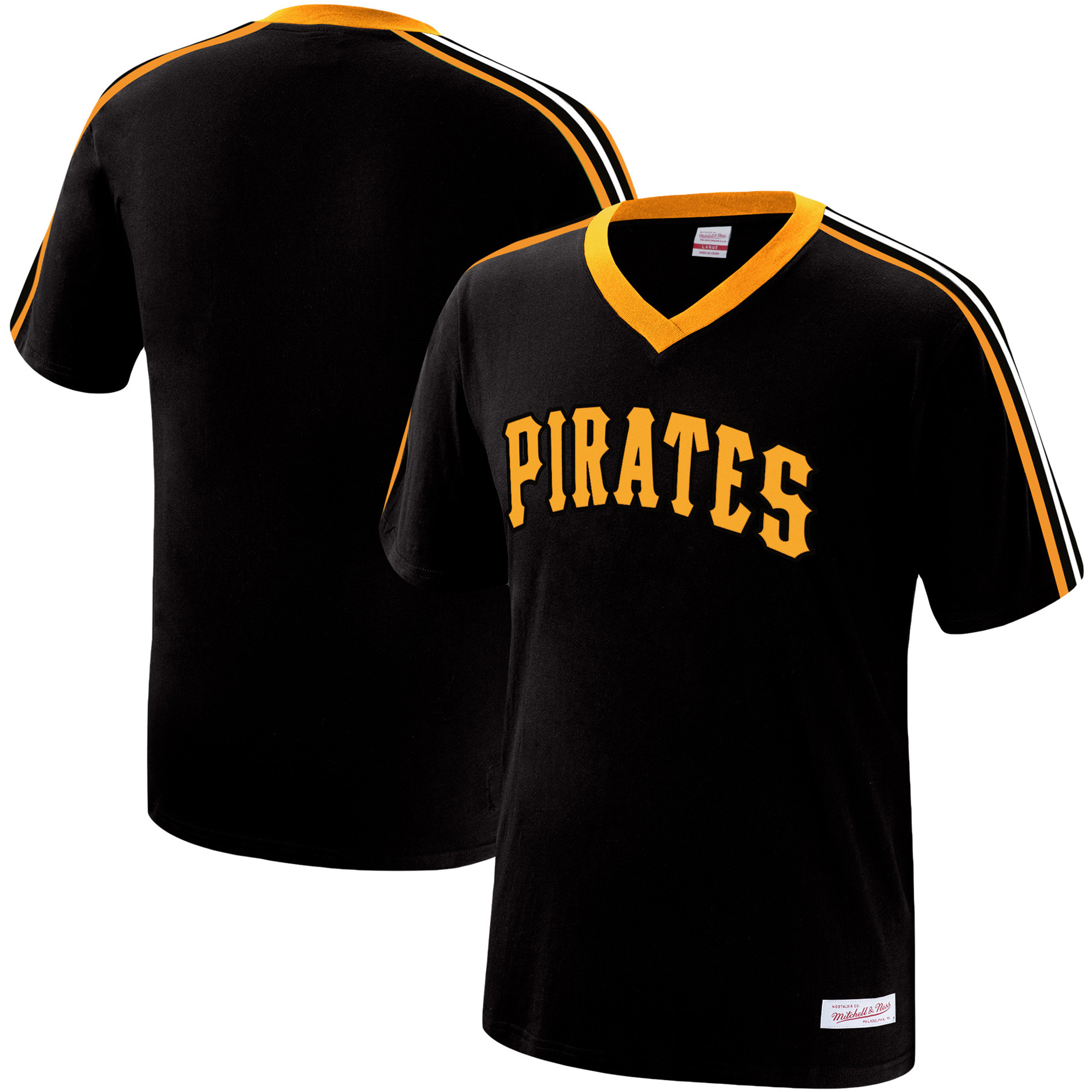 Pittsburgh Pirates Mitchell & Ness Overtime Win V-Neck T-Shirt - Black