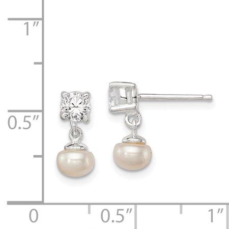 894b2670f 925 Sterling Silver Freshwater Cultured Pearl 4mm Cubic Zirconia Cz Post  Stud Earrings Drop Dangle Fine ...
