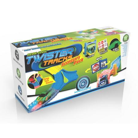 Mindscope Twister Trax Neon Glow in the Dark Track & Accessory Set w/ Bridge & Tunnel 2 Track Girder Bridge