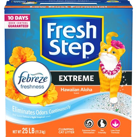 Fresh Step Extreme With Febreze Freshness  Clumping Cat Litter  Hawaiian Aloha  25 Lbs