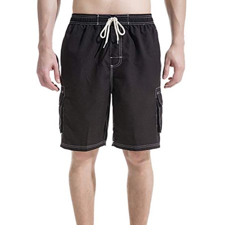LELINTA Mens Swim Trunks Beach Board Shorts with Cargo Pockets,Blue/ Black/ Grey Color, Up To Size - Snap Boardshort
