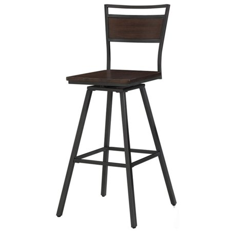 Bowery Hill 30 Quot Swivel Bar Stool In Dark Gray And Medium