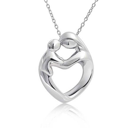 Mother Loving Child Son Or Daughter Heart Shape Pendant Necklace For Women Polished 925 Sterling Silver