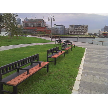 LAMINATED POSTER Water City Riverside Park Lonely River Bench Poster Print 24 x 36