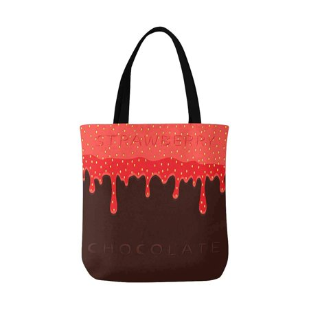 ASHLEIGH Funny Red Berry Strawberry Dripping On Brown Chocolate Washable Canvas Tote Bag Resuable Grocery Bags Shopping Bags Canvas Tote Bag Perfect for Crafting Decorating
