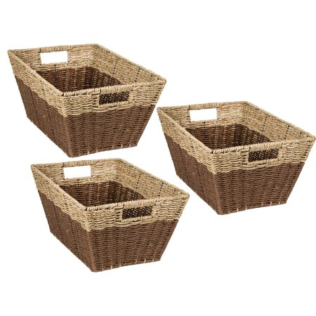 Mainstays Set of 3 Rectangle Nesting Seagrass 2-Color Baskets with Built-In Handles, Natural & Brown