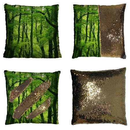 GCKG Dream Amazing Beautiful Fresh Green Forest Reversible Mermaid Sequin Pillow Case Home Decor Cushion Cover 16x16 inches