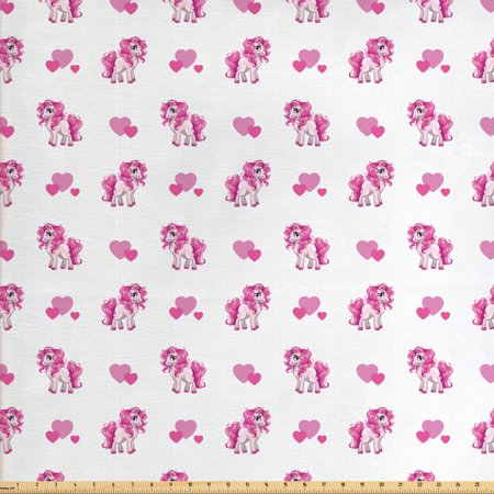 Love Fabric by The Yard, Pink Hearts and Pony Horse Kids Girls Design Fairytale Toy Animal Cartoon, Decorative Fabric for Upholstery and Home Accents, by Ambesonne Animal Design Fabric