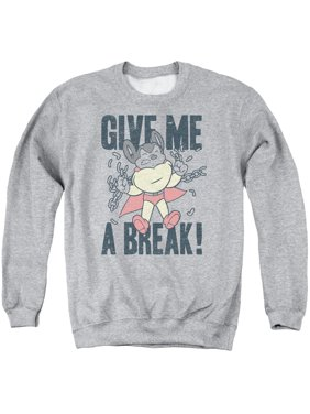 50307428 Product Image MIGHTY MOUSE/GIVE ME A BREAK - ADULT CREWNECK SWEATSHIRT -  ATHLETIC HEATHER - 3X
