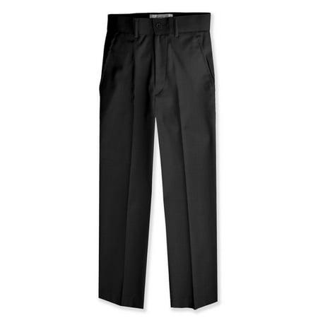 Johnnie Lene Boys Flat Front Slacks Slim Fit Dress Pants JL36 - Boys Navy Linen Trousers