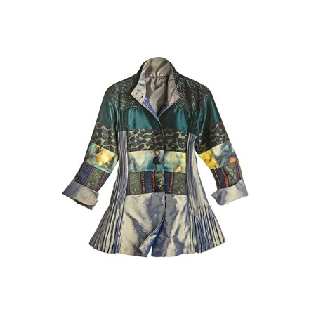 Lindi Women's Patchwork Patterns Pleated Shimmer Jacket - Iridescent Satin - Pleated Swing Coat