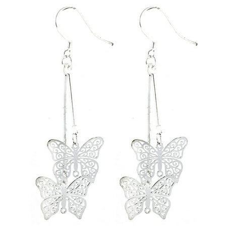 Dangling Earrings (Pair Silver Tone Butterfly Style Dangling Ear Hook Earrings)