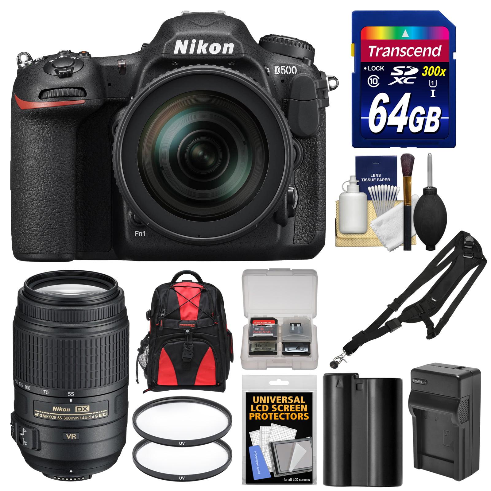 Nikon D500 Wi-Fi 4K Digital SLR Camera & 16-80mm VR Lens with 55-300mm VR Lens + 64GB Card + Backpack +... by Nikon