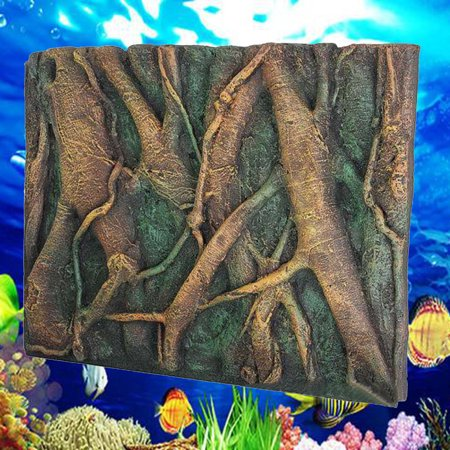 3D PU Tree Root Reptile Aquarium Background Backdrop Reptile Board Fish Tank Decoration (36x24 Aquarium Background)