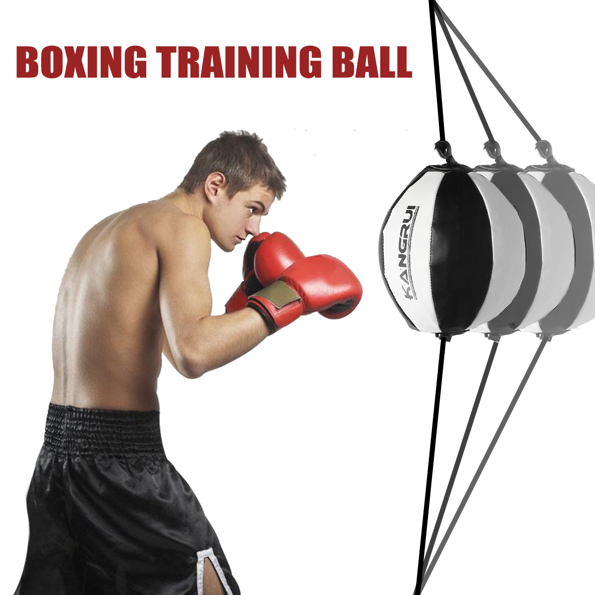XMSound Double End Ball Boxing Speed Ball Leather Boxing Ball with Pump ,Speed Dodge Ball Include 2pcs Ring Locking for Gym MMA Boxing Sports Punch Training Agility Men Women