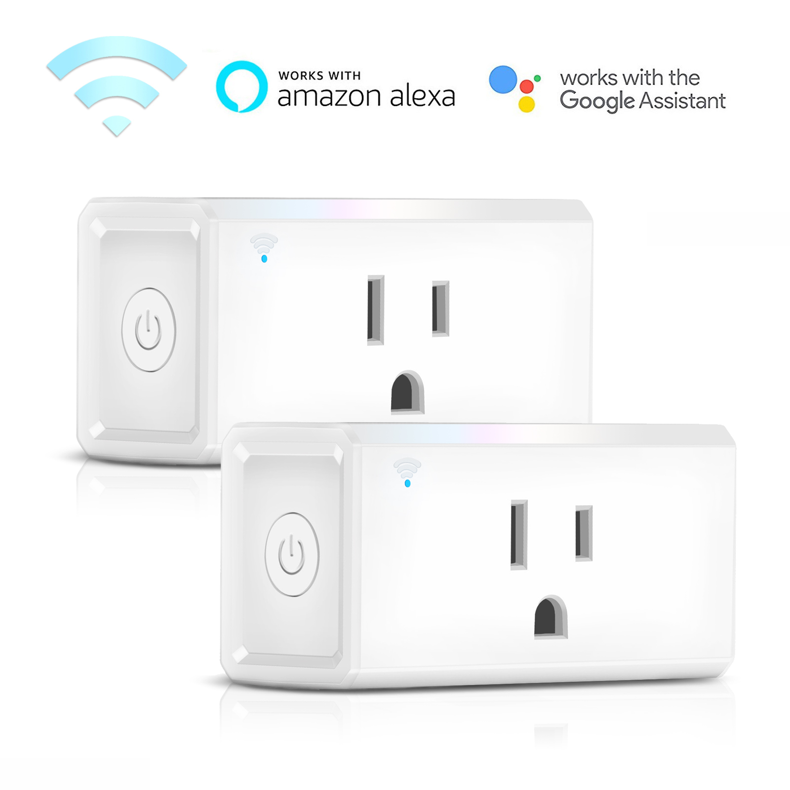 TSV 2 Pack WiFi Smart Plug Mini Plug, Remote Control Your Appliances Anywhere, Timing Function, Works with Smart Devices for Voice Control, No Hub Required Smart Socket