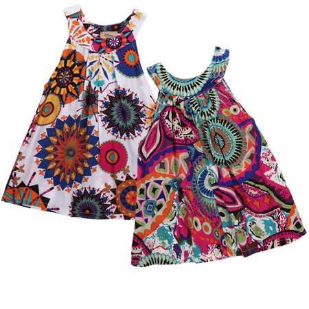 Girls Halter Tropical Flower Sleeveless Mini Dress Top Toddler Beach Sundress Tunic Dress