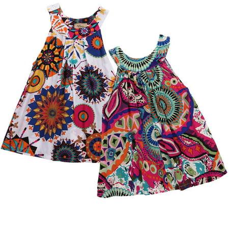 Girls Sleeveless Poplin Dress (Girls Halter Tropical Flower Sleeveless Mini Dress Top Toddler Beach Sundress Tunic Dress)