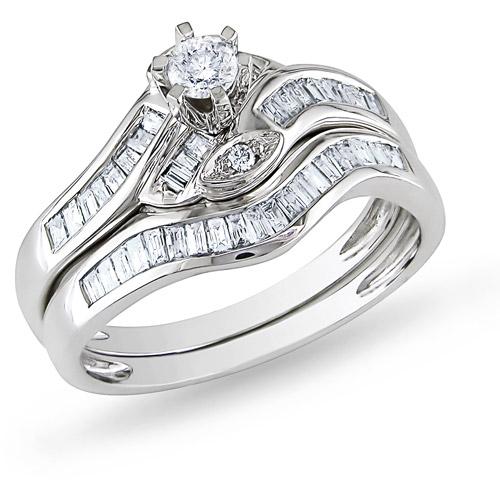 Miabella 1 2 Carat T.W. Round and Baguette-Cut Diamond 14kt White Gold Bridal Set by Delmar Manufacturing LLC