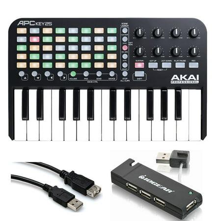 Akai Ram Upgrade - Akai Professional APC KEY 25 Keyboard Controller with USB Hub + Extension Cable