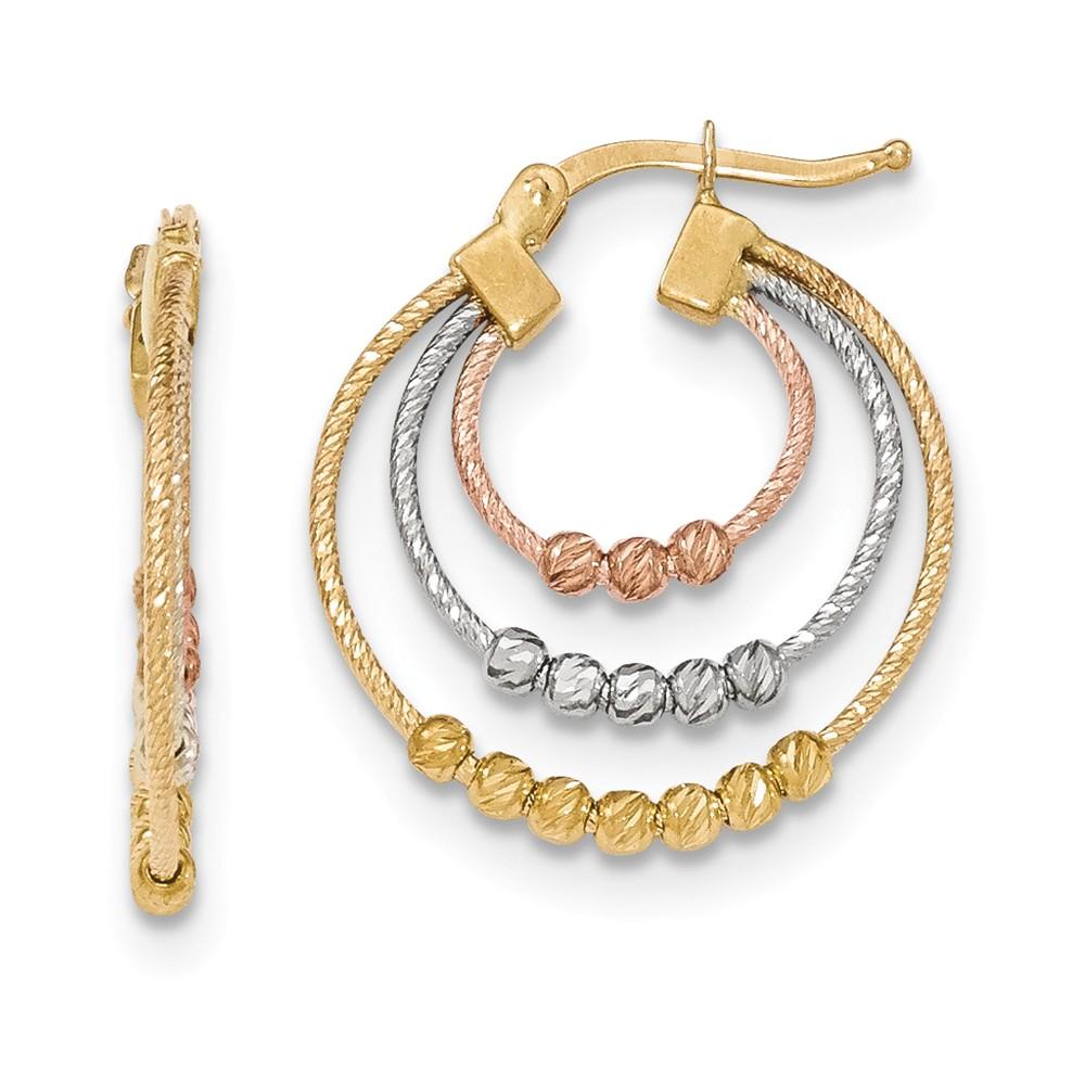 14K Three Tone Golded Hoop Earrings (1IN Long)