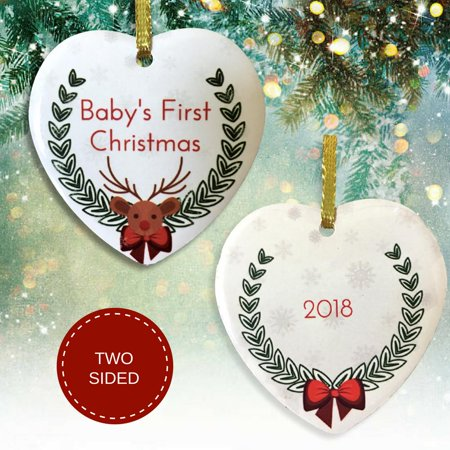 Baby's First Christmas - 2018 Xmas Ornament - Heart Shaped Ceramic - Heart Shaped Ornaments