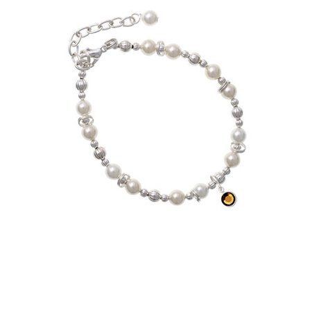 (Crystal Brown Channel Drop Imitation Pearl Beaded Bracelet)