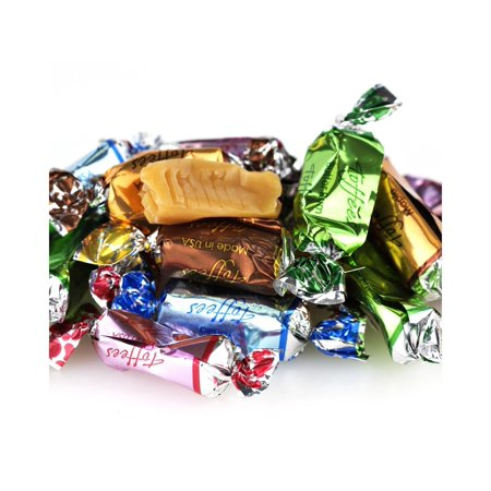 Primrose Assorted Toffees | Vanilla, Raspberry, Maple, ButterRum, Chocolate | Bulk Chews Candy, Foil Wrapped | Kosher | 2 pounds