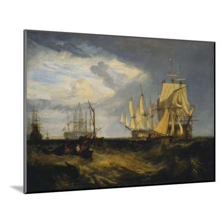 Spithead: Two Captured Danish Ships Entering Portsmouth Harbour Wood Mounted Print Wall Art By J. M. W. (Ship To Denmark)