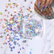 Butterfly Nail Art Glitter Sequins Set Ultrathin Tip Twinkle Diy New Year Decoration Decalsslice Kit