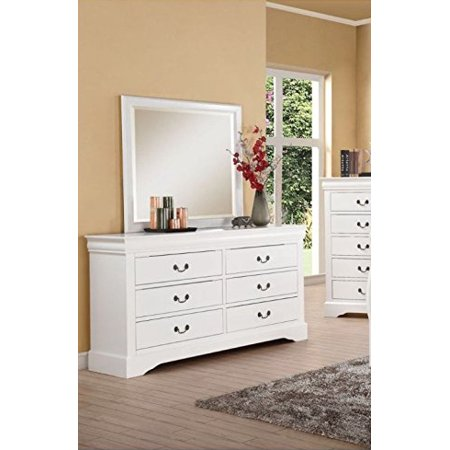 Simple Relax Louis Philippe White 6 Drawer Dresser And Mirror