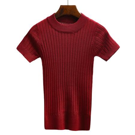 Short Sweater Top - Women Sweater Tank Top Knitting T-shirt Short Sleeve Crop Tops Tight Bustier Women Winter Jumper