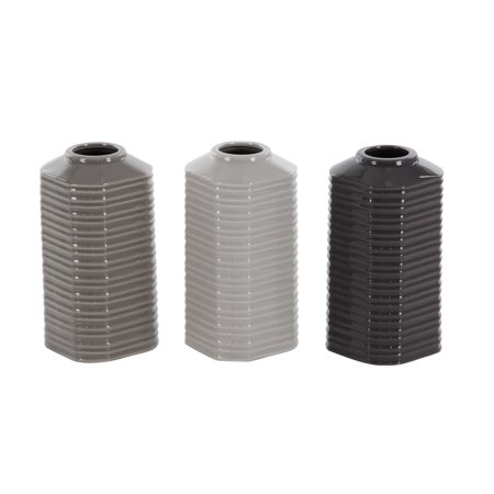 Ribbed Ceramic - Decmode Set of 3 contemporary 8 inch glazed and ribbed ceramic vases, Gray, White, Black