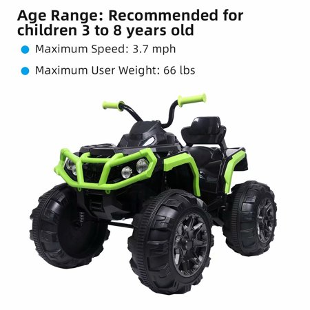 Akoyovwerve LEADZM 12 Volt Ride On Toys, Kids Cars to Ride In 12V,ATV Double Drive Black & Green