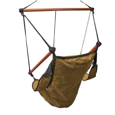 Fall Arrest Rope - Hanging Rope Hammock Chair (Tan) Air Deluxe Sky Swing Outdoor Seat Solid Wood 250lb with Pillow Arm Arrest Footrest and Drink Holder for Patio Furniture Camping Travel Porch Lounge