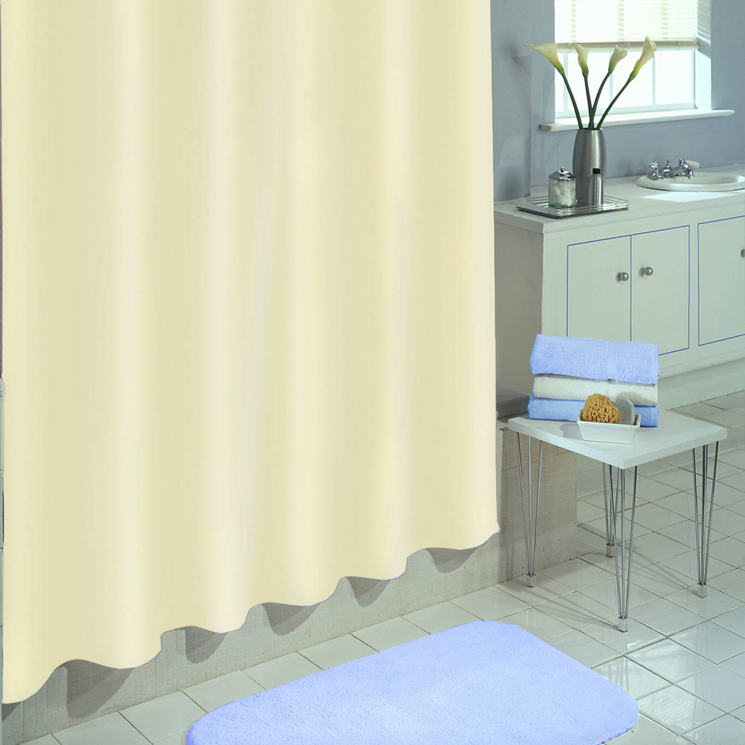 "Excell Medium-Weight 100 percent PEVA Shower Curtain Liner, 70"" x 72"", Linen"