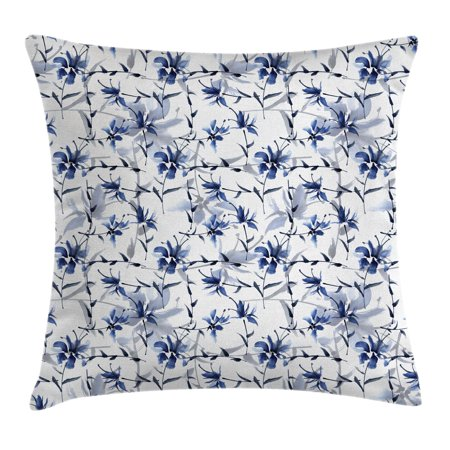 Traditional House Decor Throw Pillow Cushion Cover, Asian Japanese Ink Paint with Flourishing Flower Patterns Oriental Decor, Decorative Square Accent Pillow Case, 16 X 16 Inches, Blue, by Ambesonne - Painted Flower