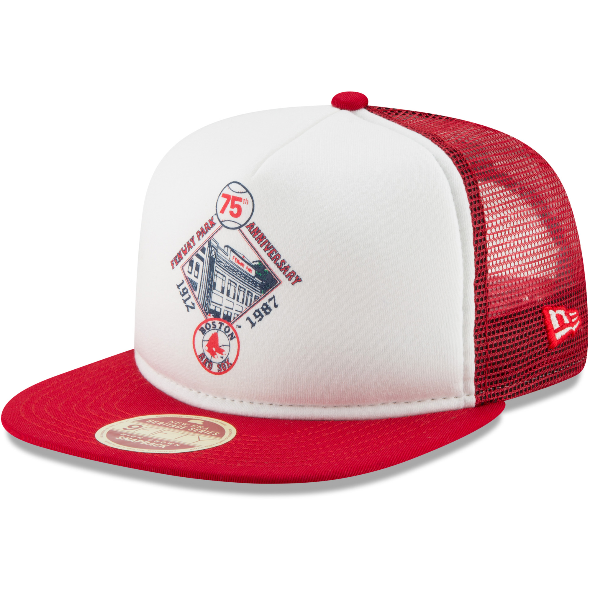 Boston Red Sox New Era Cooperstown Collection Foam Trucker 9FIFTY Snapback Adjustable Hat - White/Red - OSFA