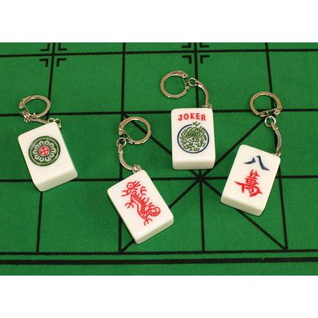 4 Real Mahjong Tile Keychains -