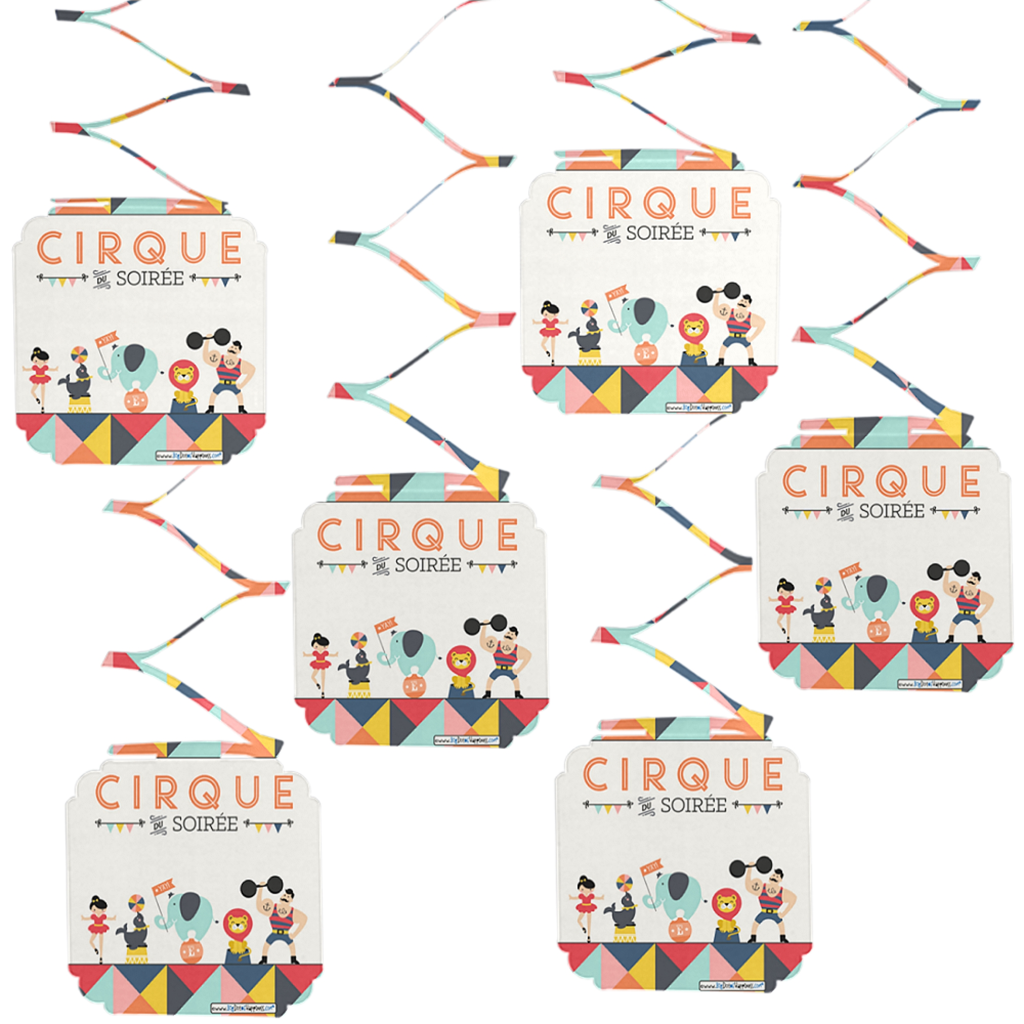 Carnival Circus - Cirque du Soiree - Baby Shower or Birthday Party Hanging Decorations - 6 Count