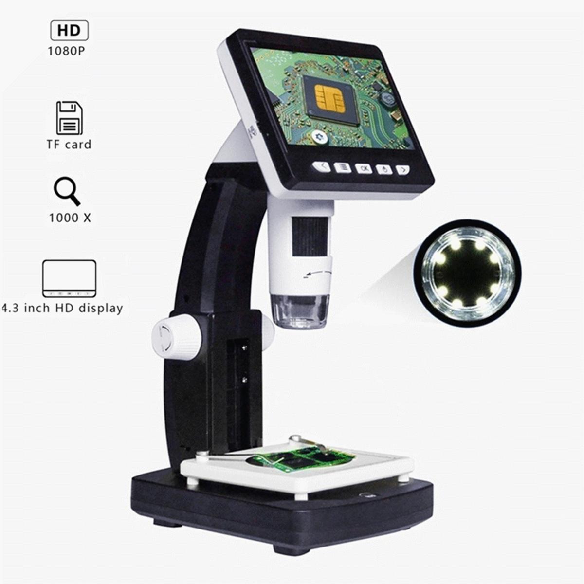4.3'' 1000X HD 1080P Portable LCD Monitor Digital Video Microscope Magnifier Pro